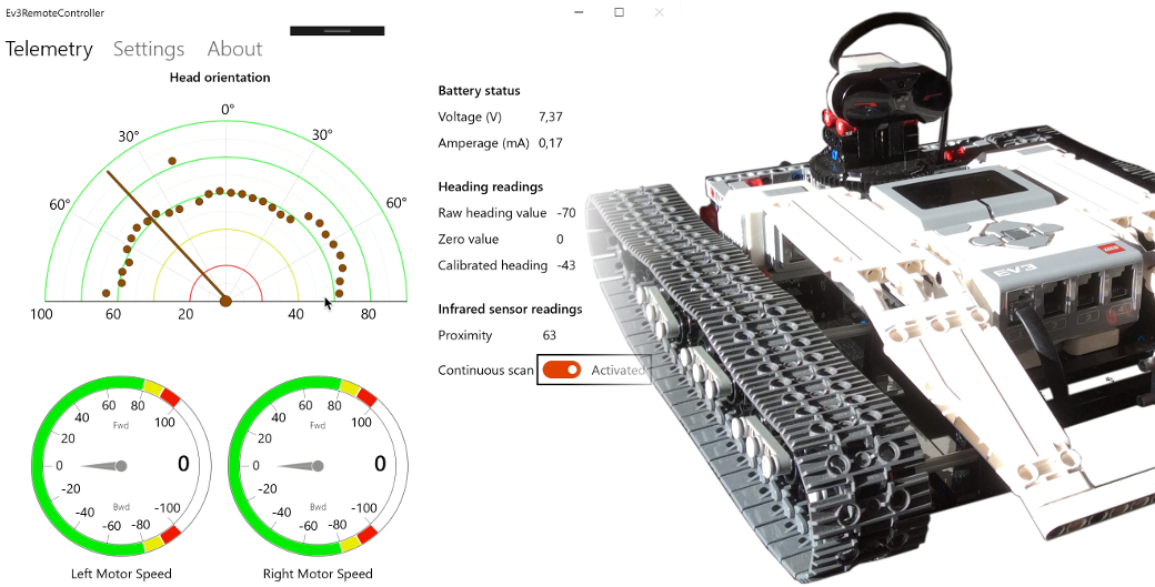 Remote control app for a Lego Mindstorms Ev3 rover with Ev3Dev